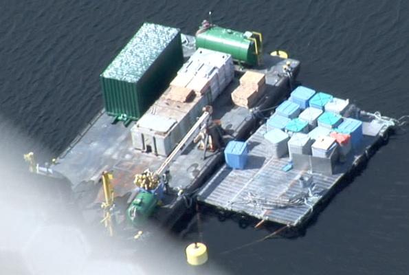 Dixon Bay Farm (barge & mort float) Aerial May 24 '12 copy